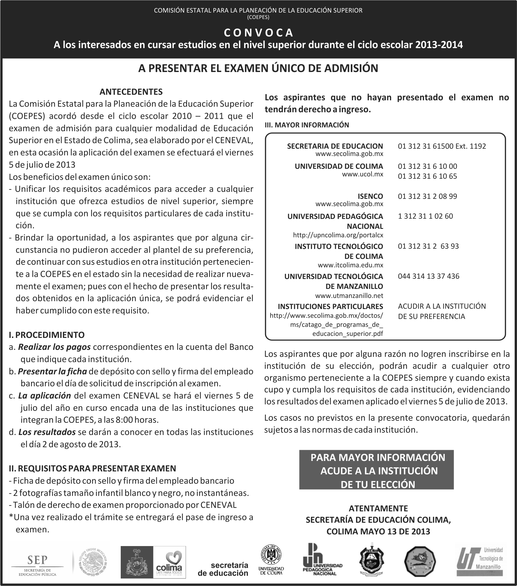 Admision Escolar: Portal Web De La Secretaría De Educación Del Estado De Colima
