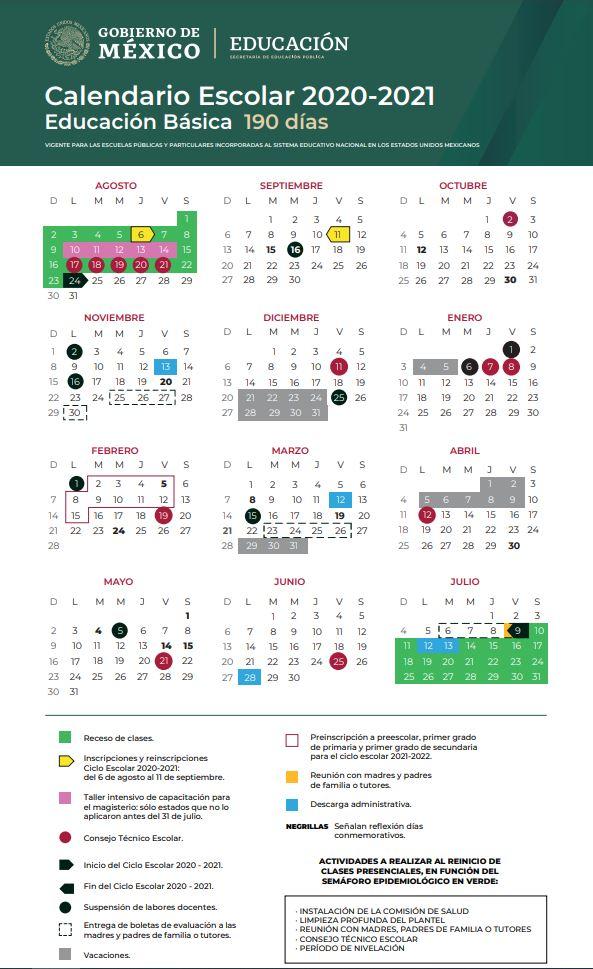 Calendario Escolar 2021 Portal SE Colima